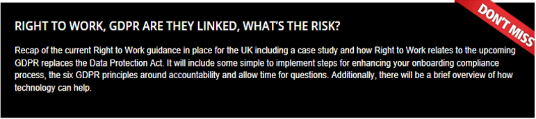 The Right to Work process and GDPR are they linked and whats the risk?